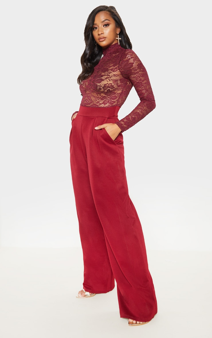 Petite Burgundy Lace High Neck Long Sleeve Jumpsuit 4