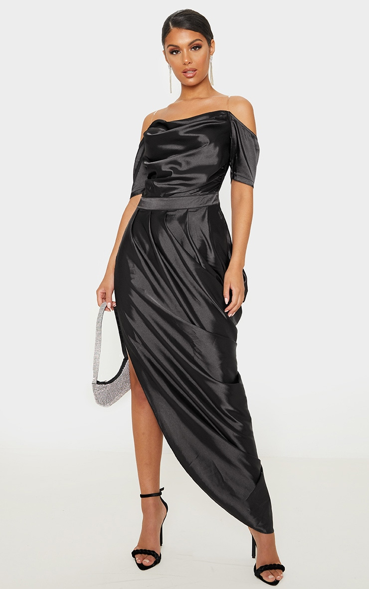 Black Satin Ruched Asymmetric Hem Maxi Dress 1
