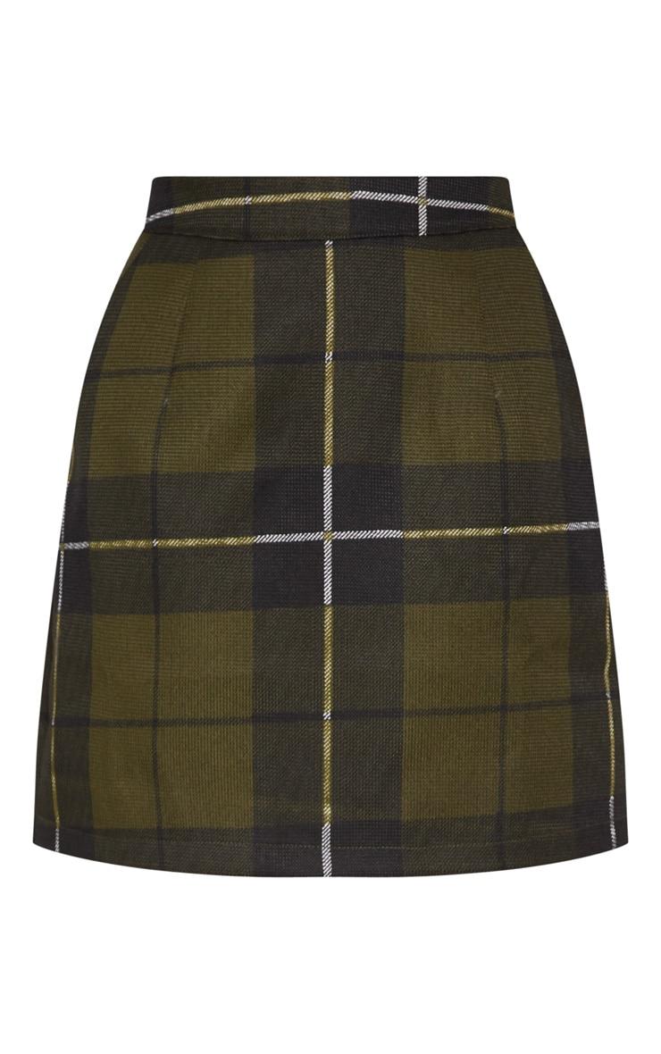 Khaki Tartan Check Mini Skirt 3