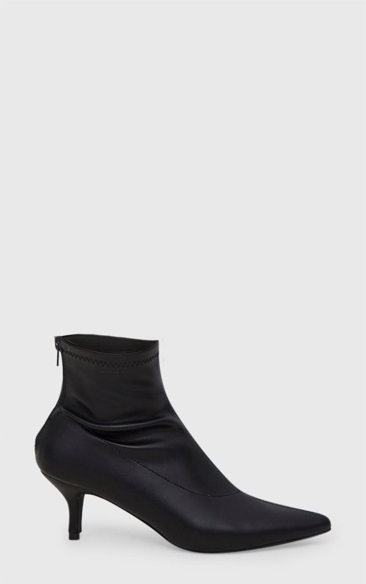 Black PU Low Heeled Ankle Boots 3