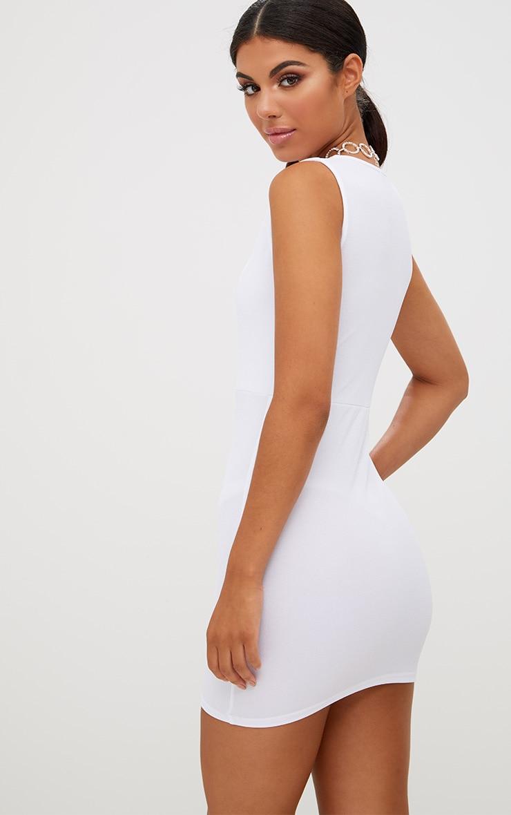 White Plunge Bodycon Dress 2