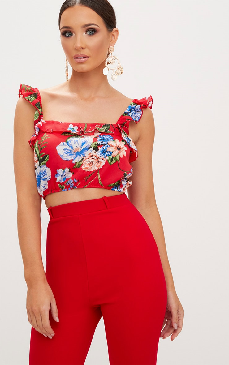 Red Floral Print Ruffle Strap Crop Top 1