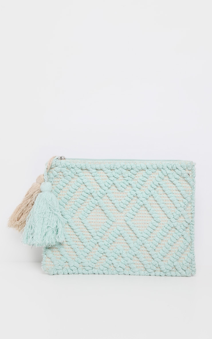 Mint Cotton Tassel Detail Clutch Bag 2
