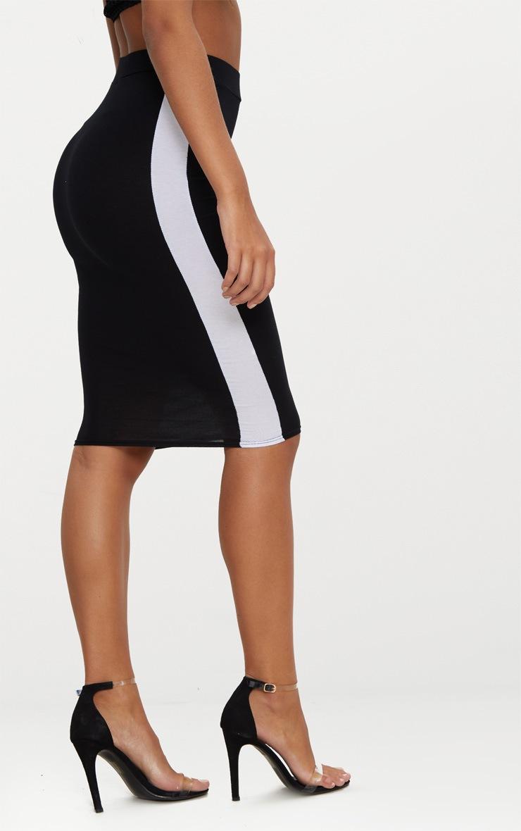 Black Contrast Stripe Midi Skirt 4