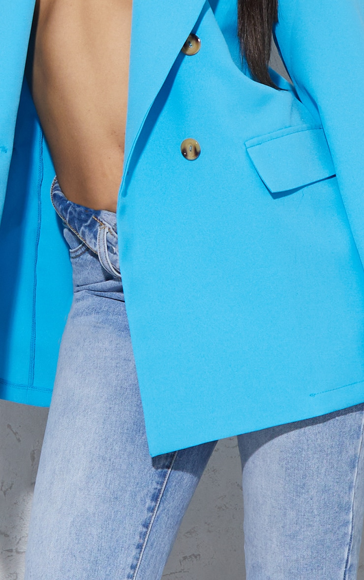 Bright Blue Shoulder Padded Double Breasted Blazer 4