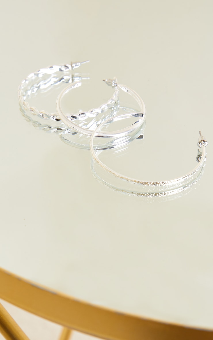 Silver Assorted Textured Multi Pack Hoop Earrings 3