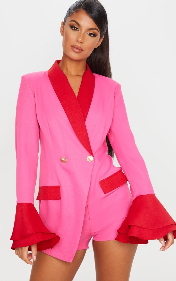 Pink Contrast Frill Sleeve Blazer Playsuit 1