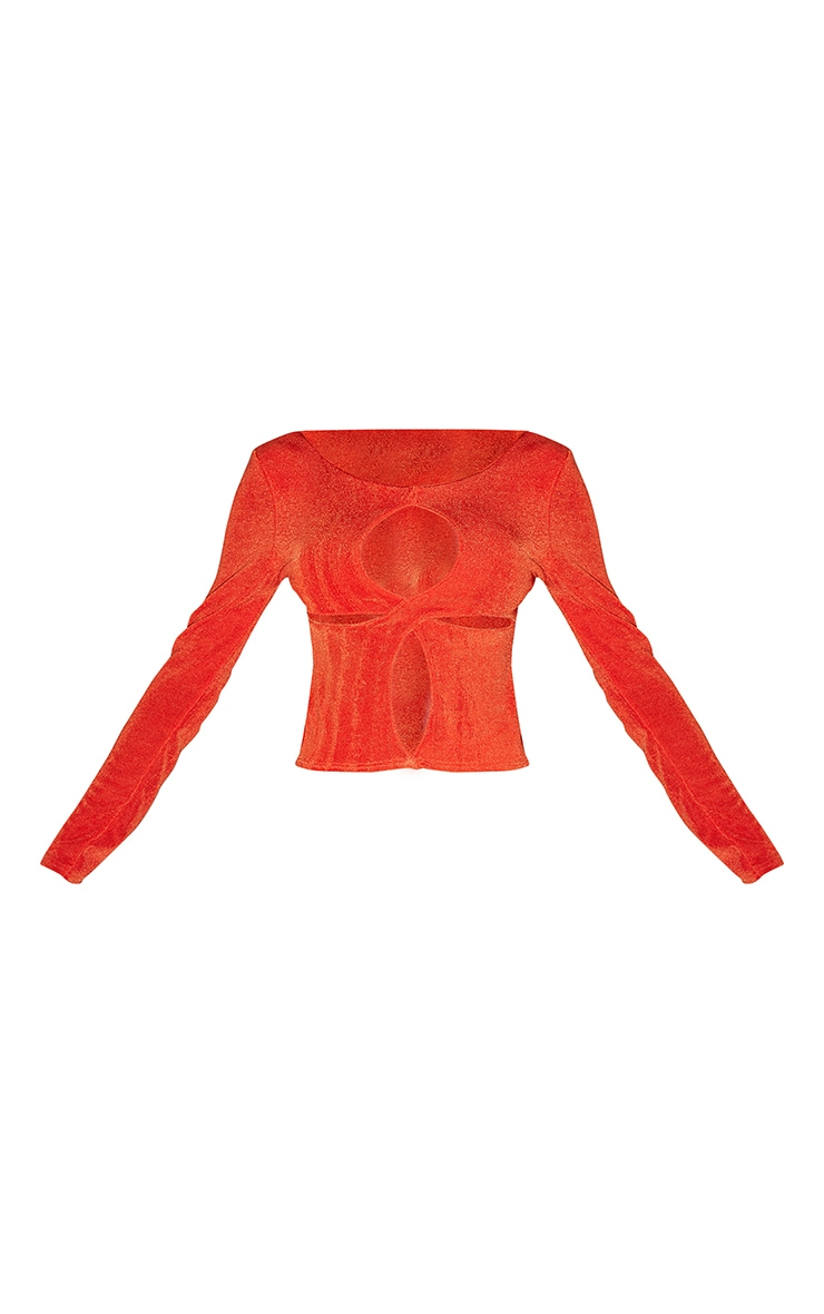 Orange Acetate Slinky Cut Out Detail Long Sleeve Top 5