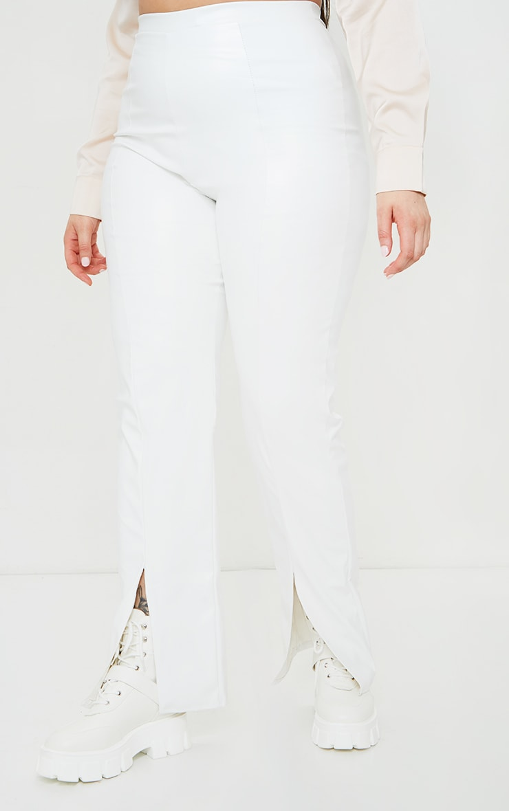 Plus Cream Faux Leather Seam Detail Split Hem Trousers 2