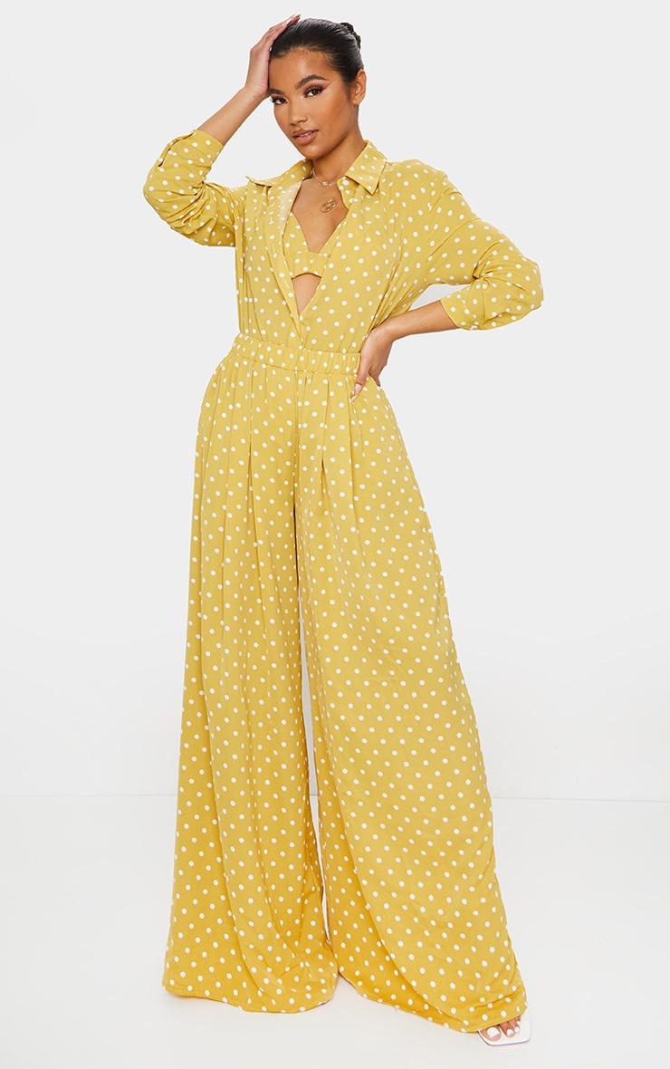 Mustard Polka Dot Printed Oversized Shirt 3