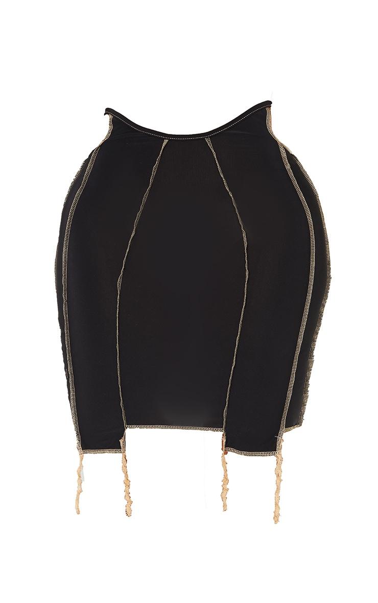 Shape Black Slinky Overlock Cut Out Detail Bodycon Skirt 6