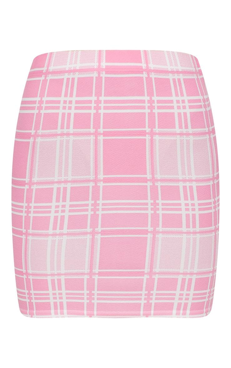 Pink Check Print Mini Skirt 3