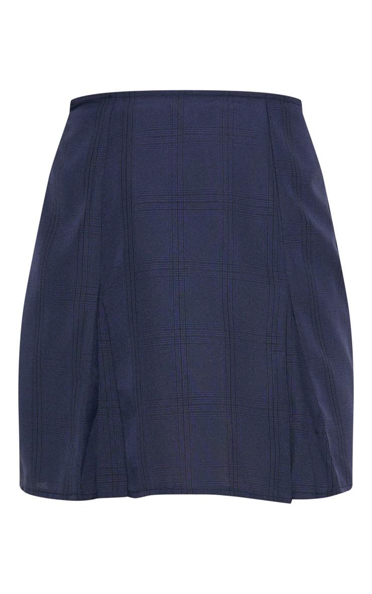 Navy Pleated Hem Check Mini Skirt 3