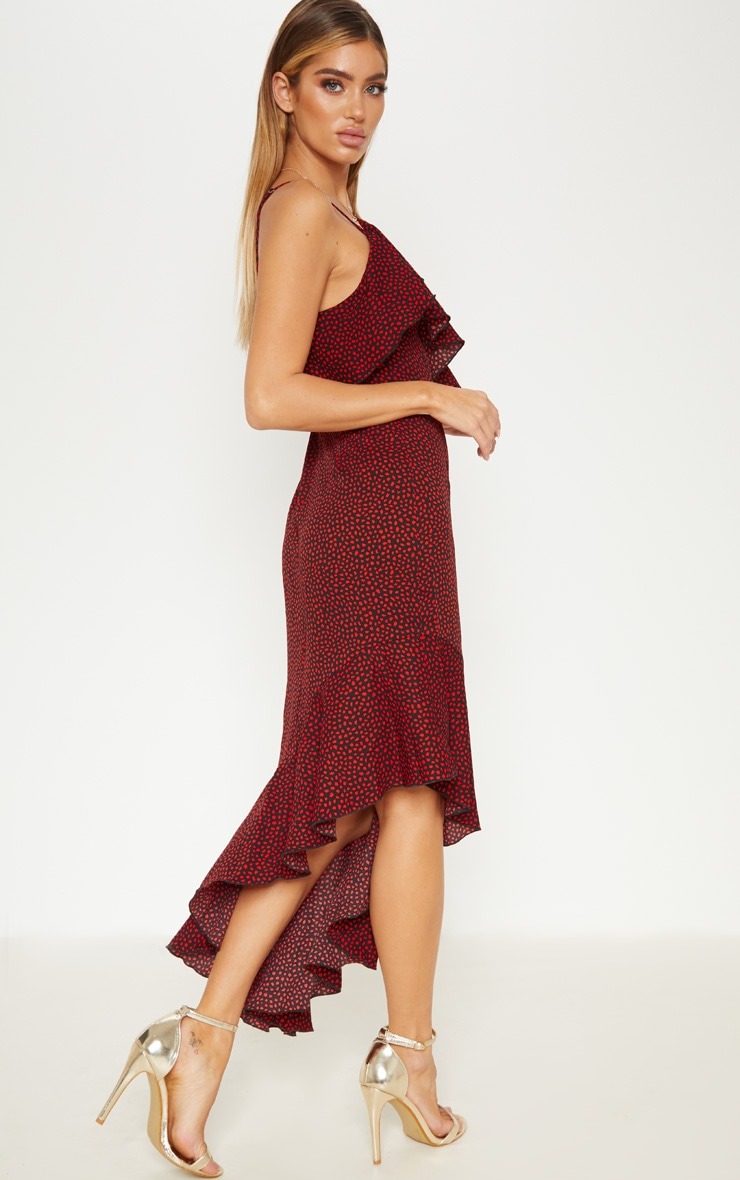 Burgundy Polka Dot One Shoulder Asymmetric Hem Maxi Dress 4