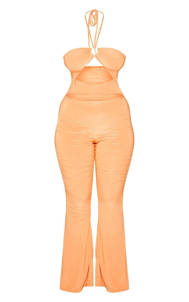 Bright Orange Ring Detail Halterneck Slinky Jumpsuit 5