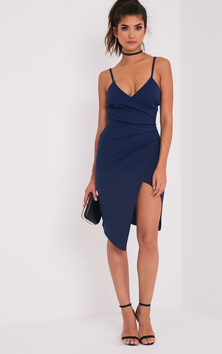 Lauriell Navy Wrap Front Crepe Midi Dress 1