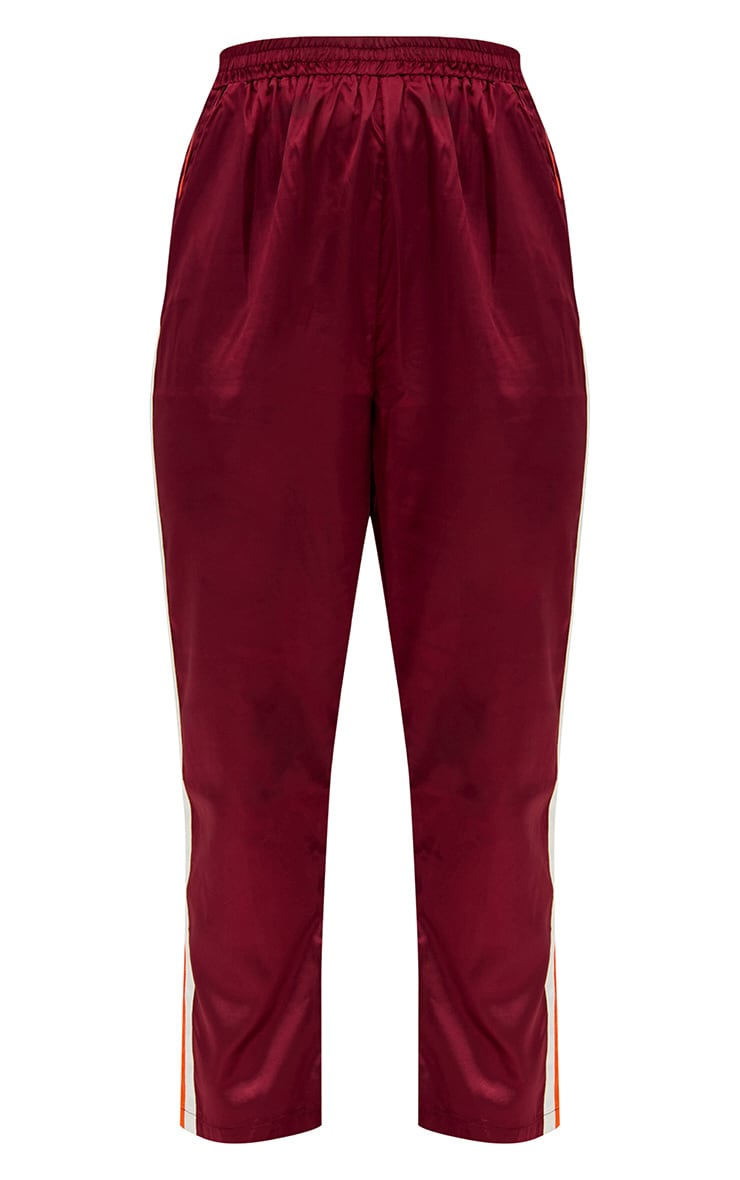 Burgundy Satin Side Stripe Boxer Joggers 3