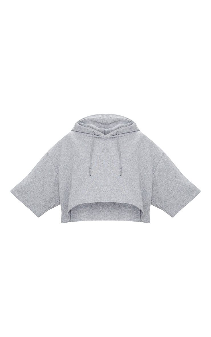 Grey Crop Sweat Hoodie 3