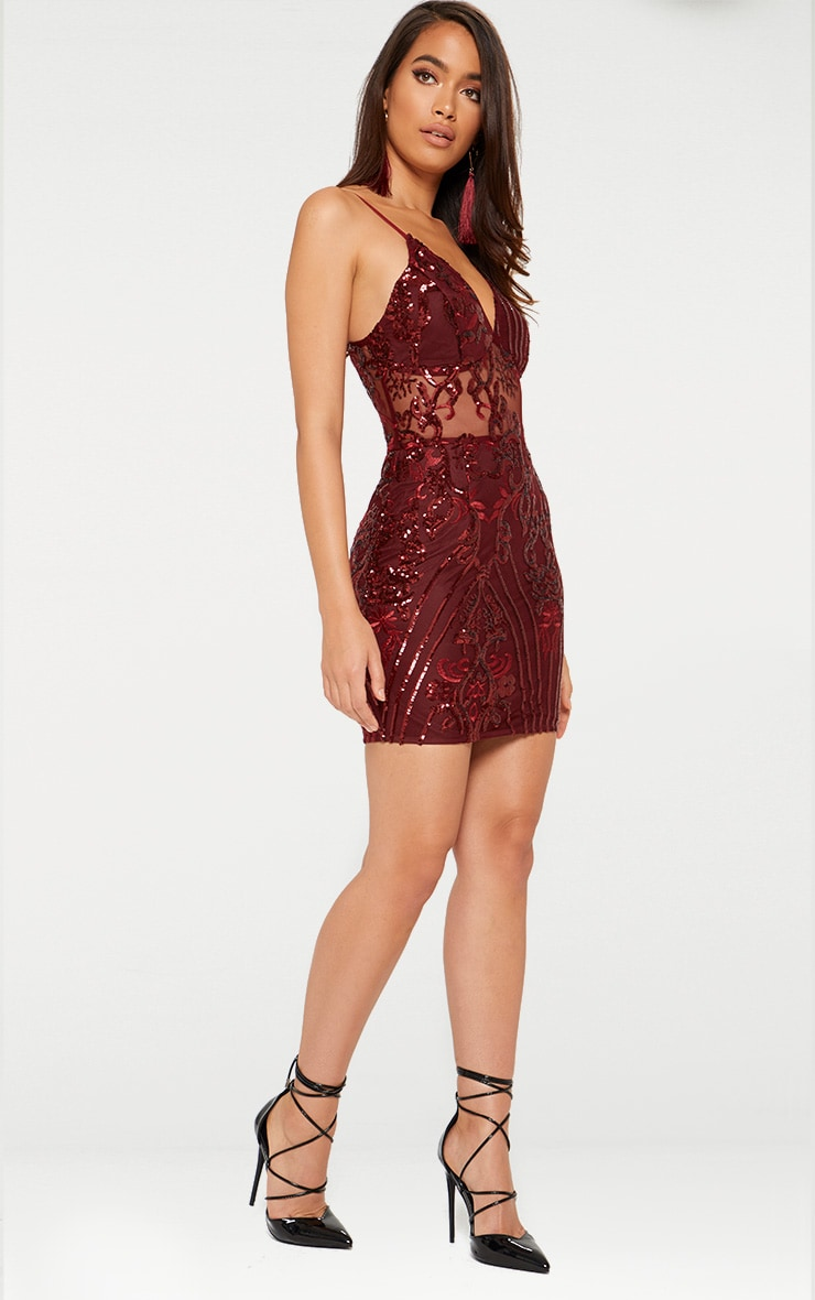 Burgundy Strappy Sheer Panel Sequin Bodycon Dress 4