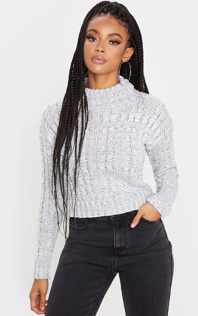 Grey All Over Cable Knit Roll Neck Crop Jumper