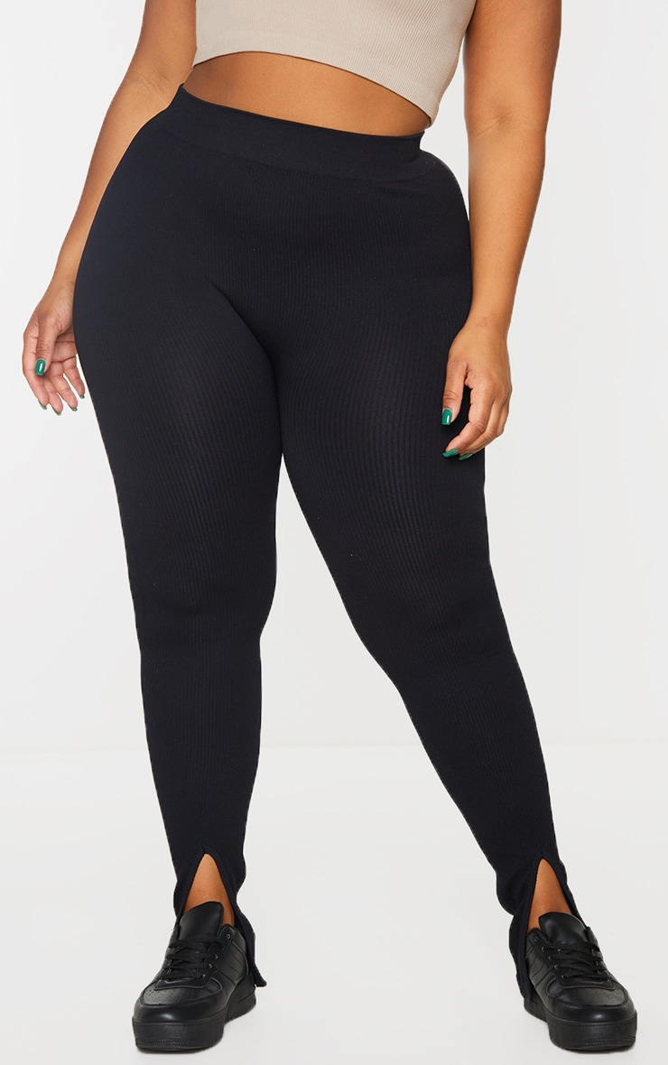 Plus Black Structured Contour Rib Split Hem Leggings 2