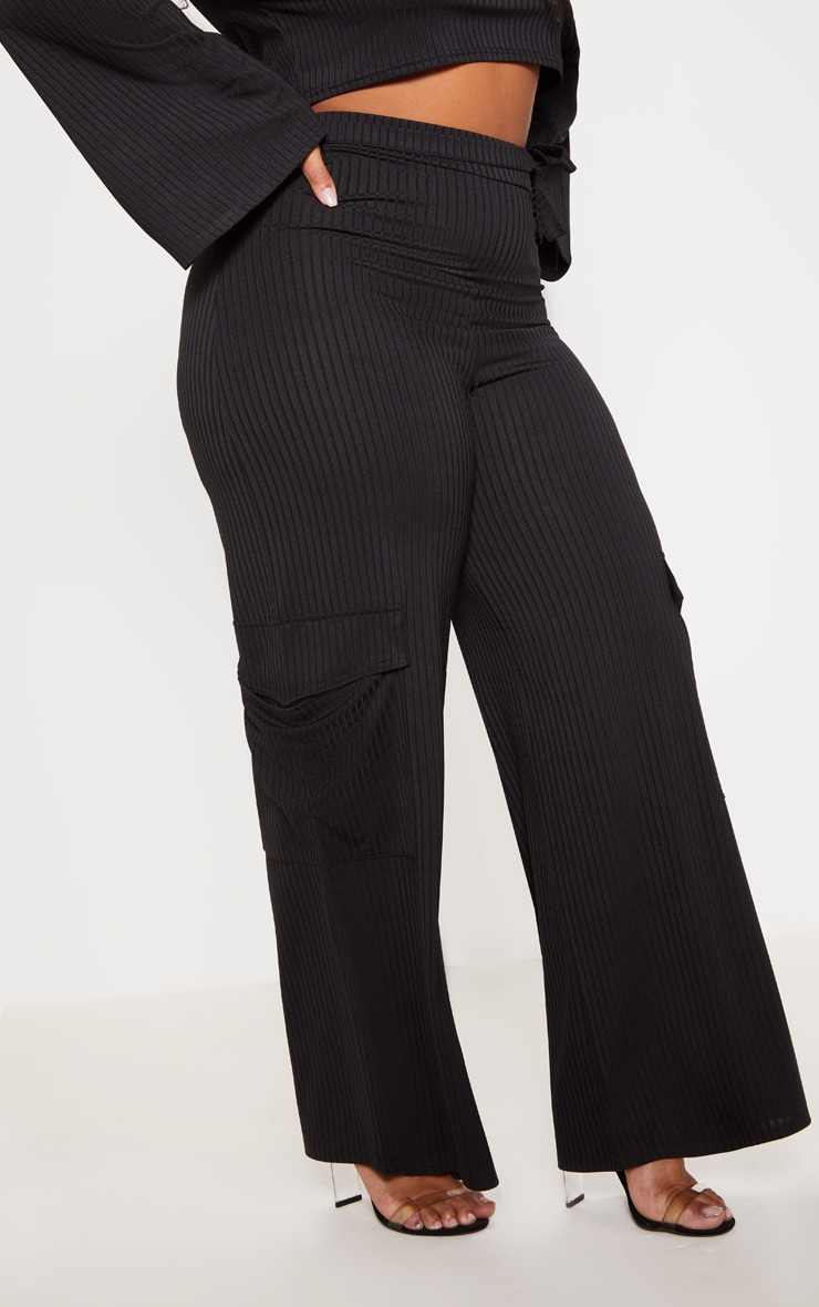 Plus Black Ribbed Pocket Detail Wide Leg Trouser 2