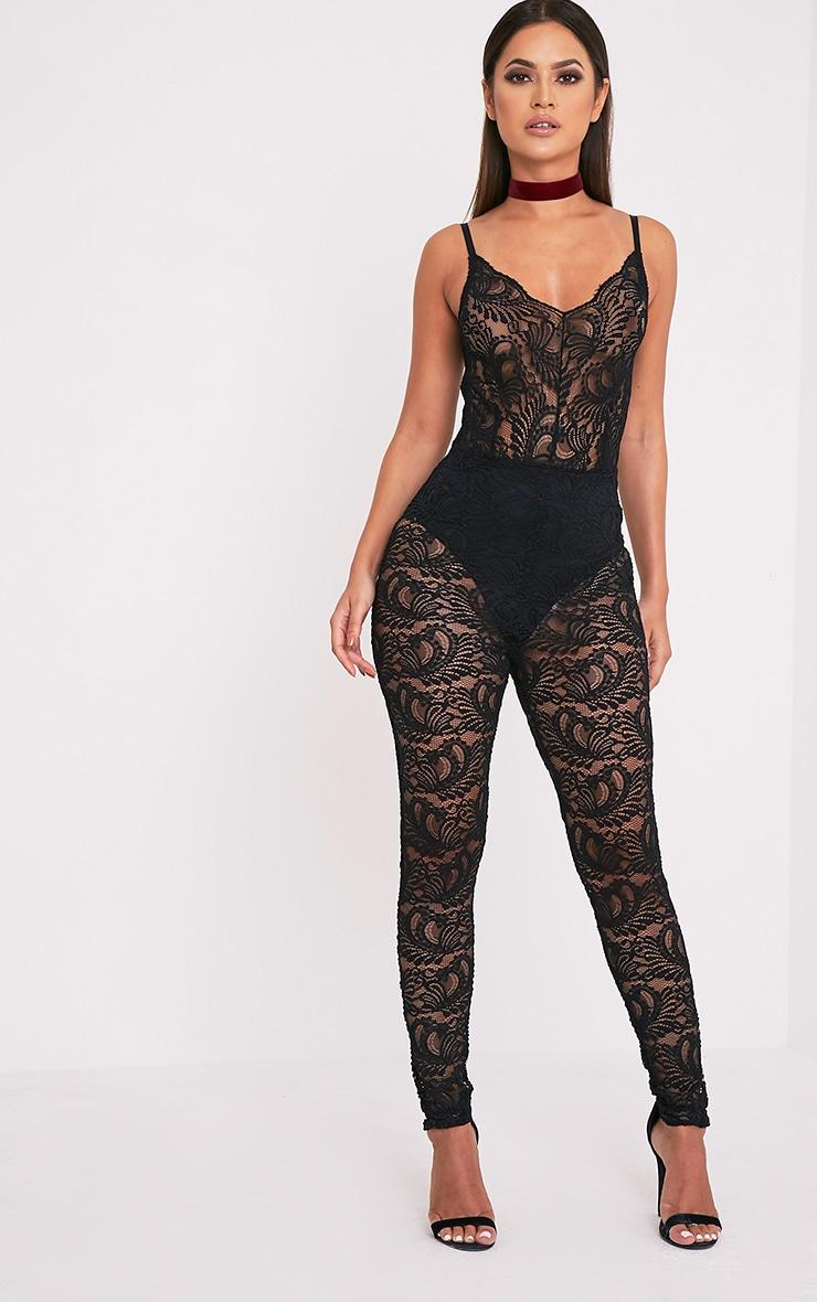 Lucillia Black Lace Catsuit