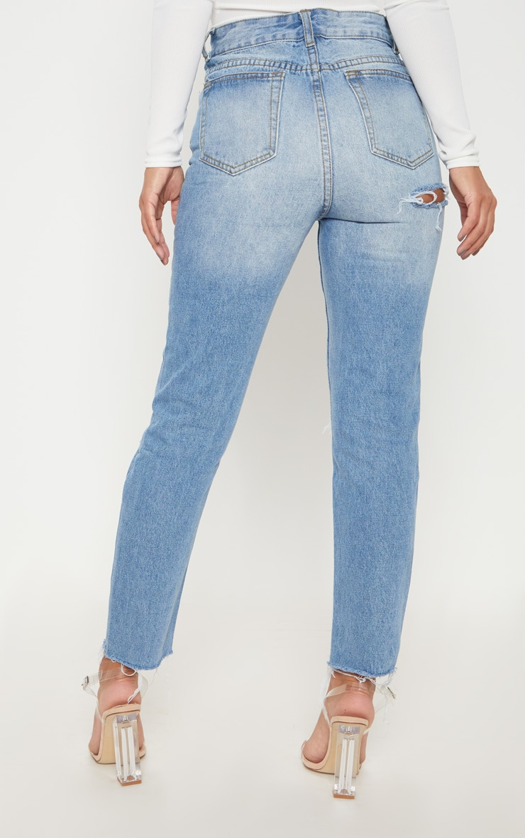 Petite Light Wash Distressed Mom Jeans 4