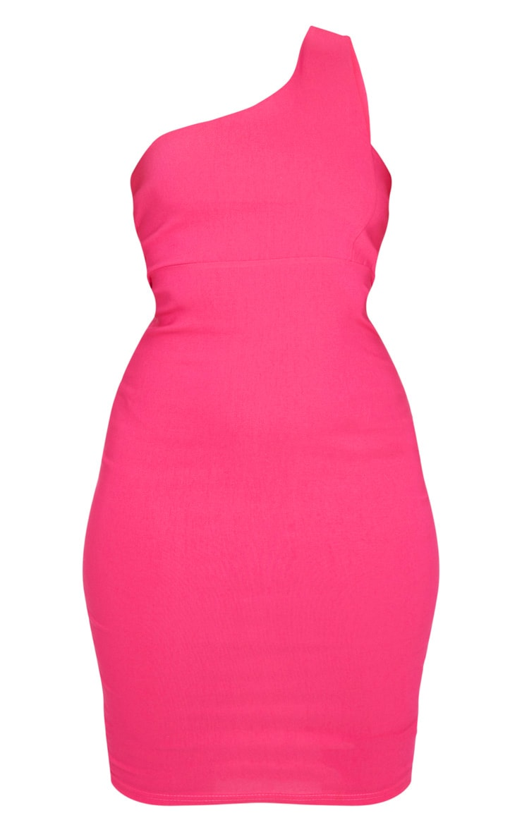 Hot Pink Woven Stretch One Shoulder Midi Dress 3