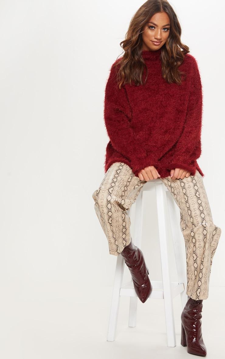Burgundy Oversized Eyelash Sweater 4