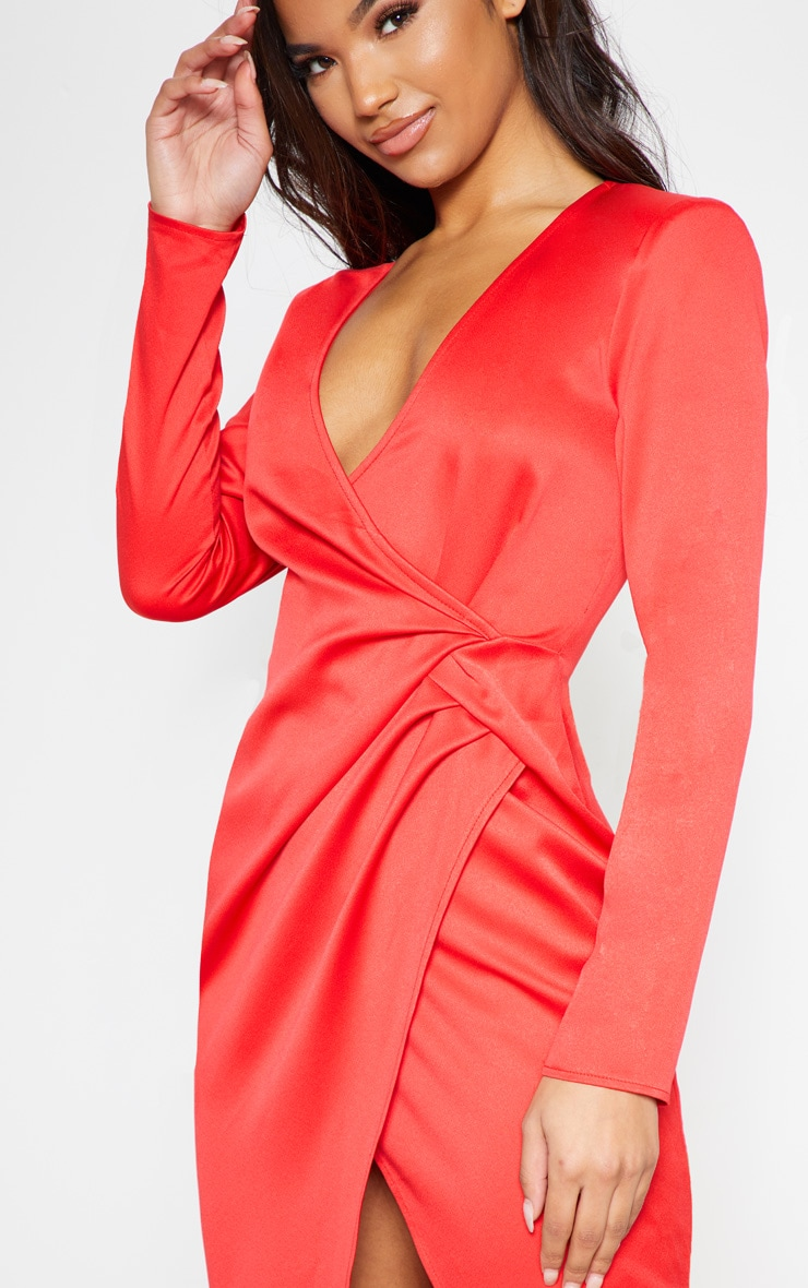 Red Drape Pleated Detail Midi Dress 6