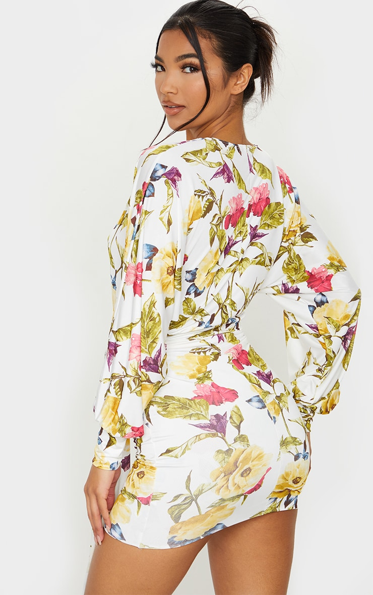White Floral Slinky Plunge Drape Bodycon Dress 2
