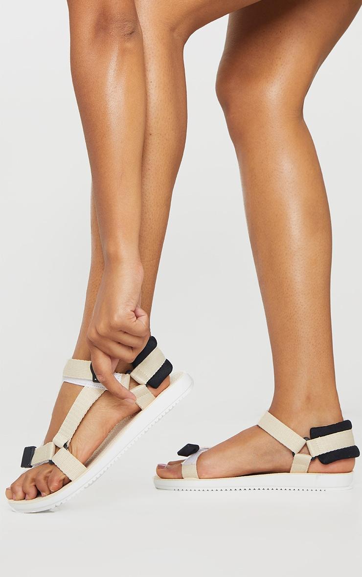 Cream Velcro Strap Sandals 1