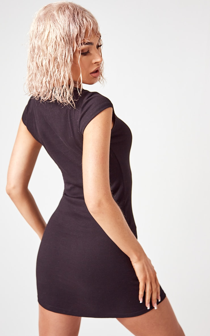 Essential Black Cotton Blend High Neck Ribbed Bodycon Dress 2