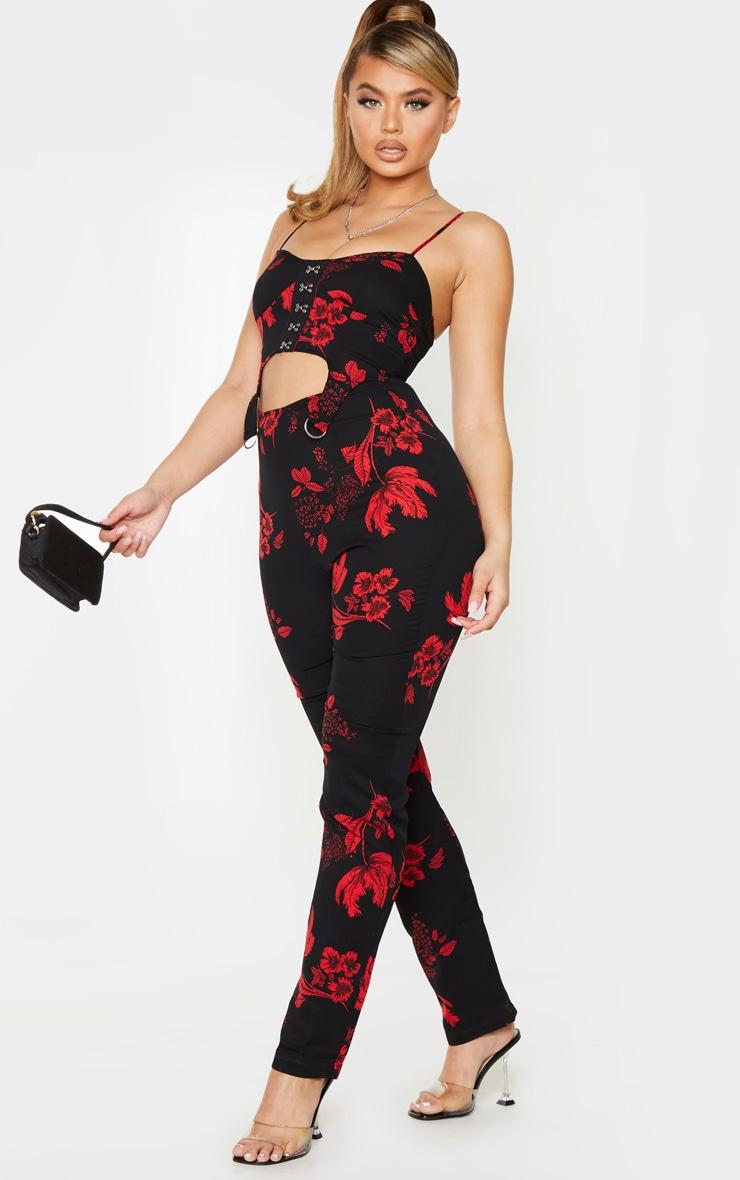 Black Floral Print Corset Suspender Detail Jumpsuit 1