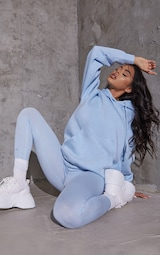 Recycled Baby Blue Oversized Sweat Hoodie 3