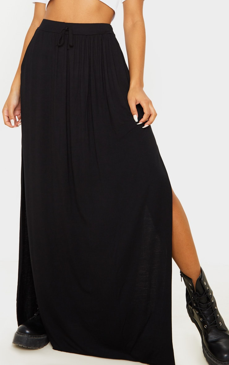 Black Jersey Drawstring Maxi Skirt 6