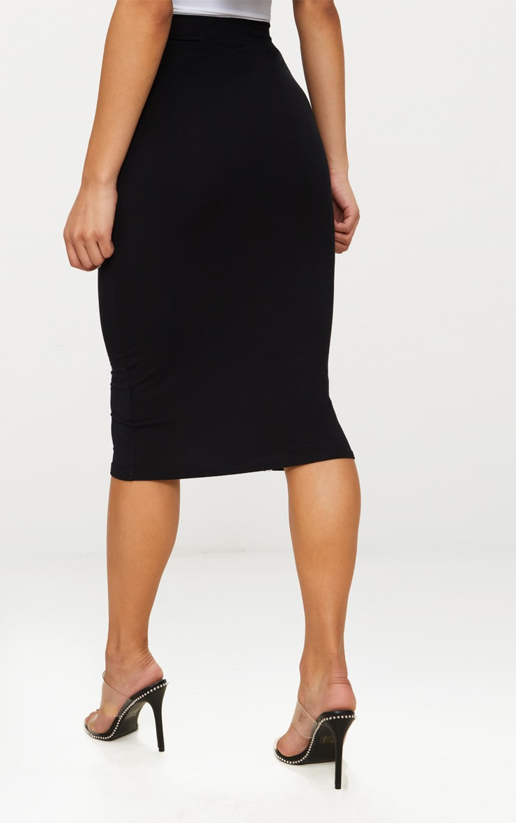 Black Jersey Binding Detail Midi Skirt 4