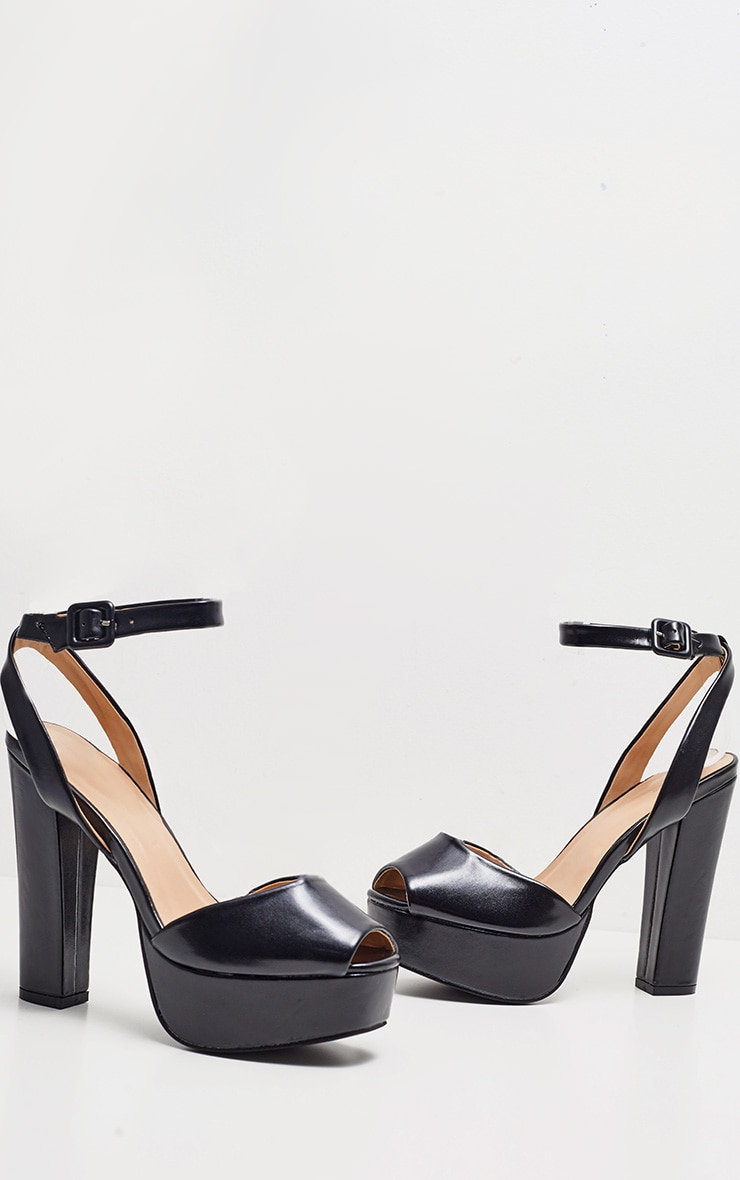 Black Faux Leather Platform Sandal 3