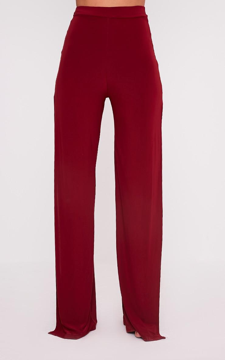Darsee Burgundy Side Split Slinky Trousers 2