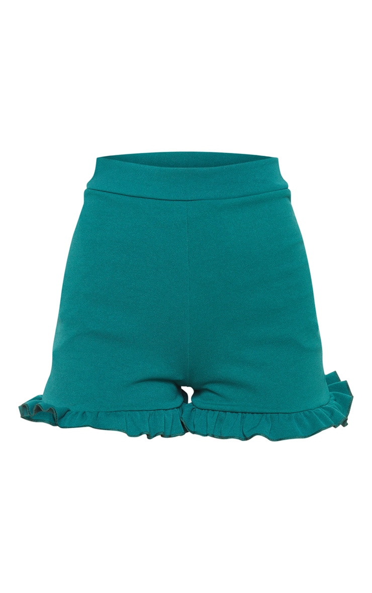 Emerald Green Frill Hem Shorts 4