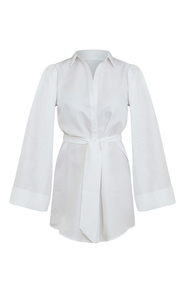 White Flare Puff Sleeve Tie Waist Shirt Dress 5