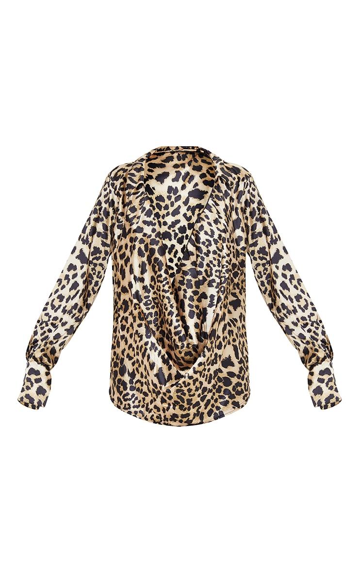 Tan Leopard Print Extreme Cowl Long Line Satin Shirt 5