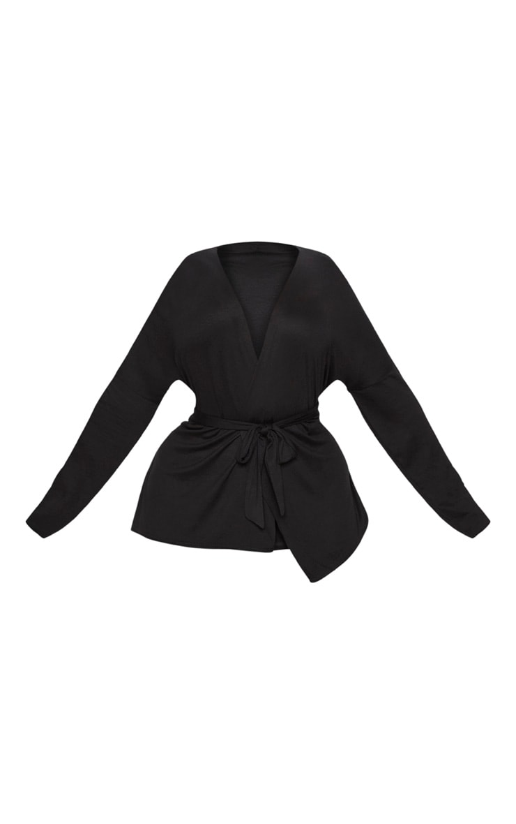 Plus Black Jersey Tie Waist Blouse 3