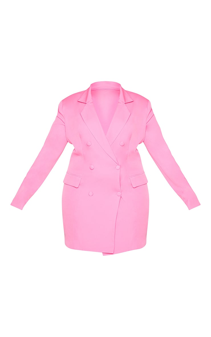 Plus Hot Pink Double Breasted Structured Blazer Dress 5