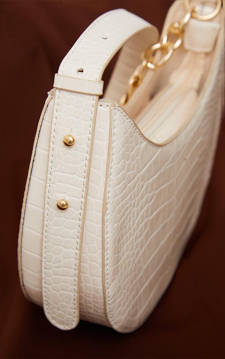 Cream Croc Crescent Mixed Chain Strap Shoulder Bag 4
