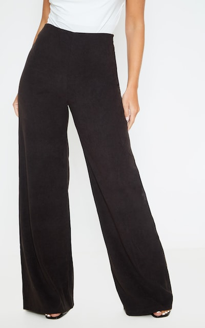 Black Faux Suede Wide Leg Trousers