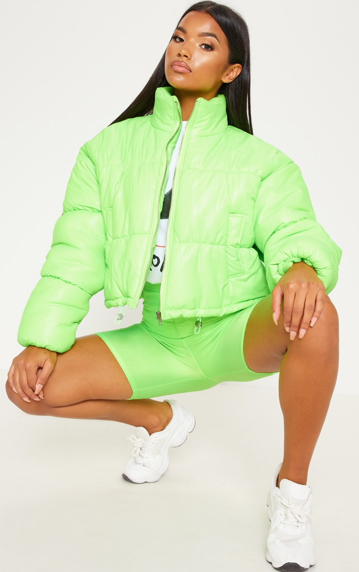 Neon Lime Cropped Puffer Jacket 2