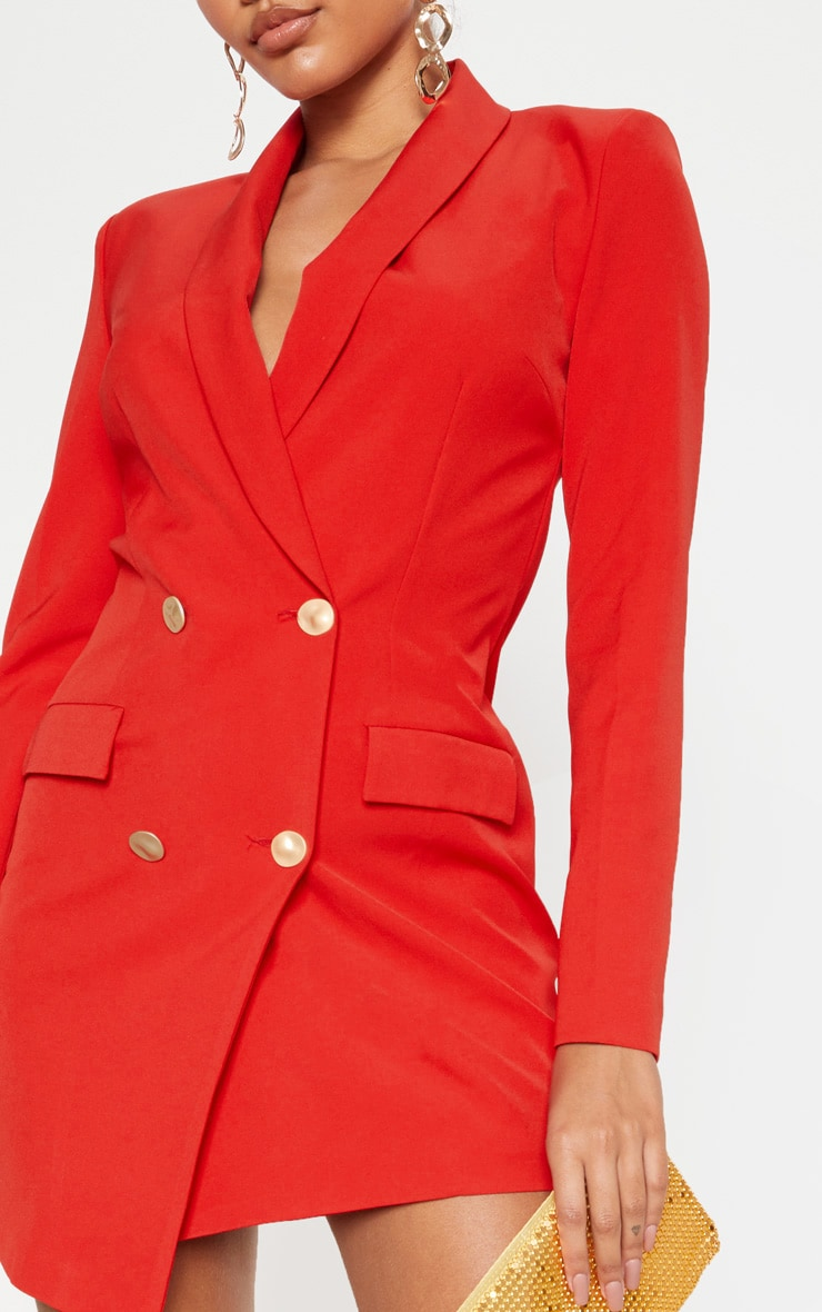 Red Gold Button Blazer Dress 5