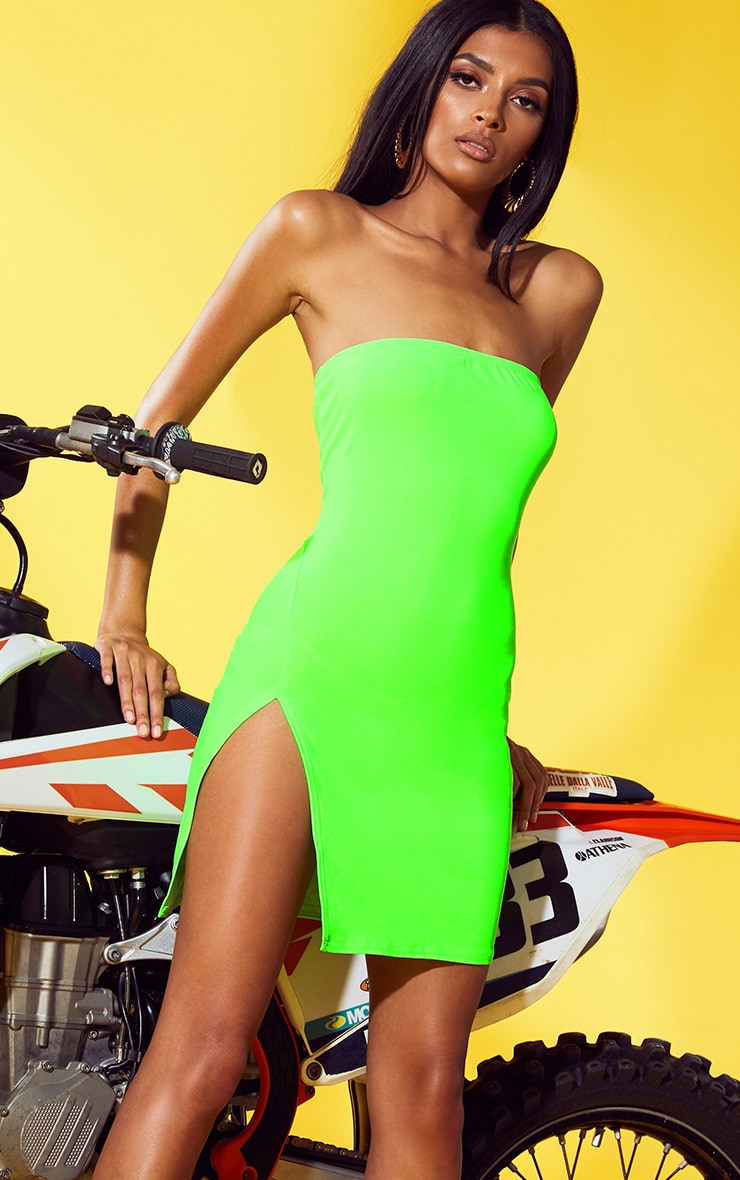 Neon Green Extreme Split Bodycon Dress 1